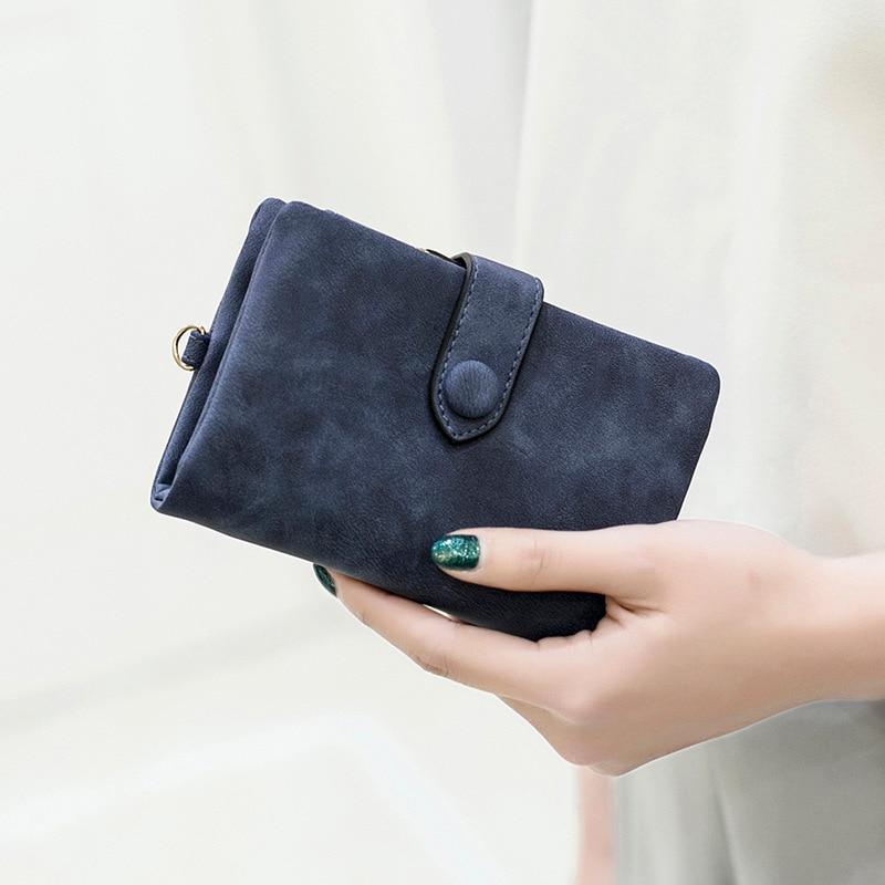 2018 Nubuck PU Leather Women's Short Wallet Bag Money Card Women's Holders Fashion Zipper Small birthday gift Soft Girl Wallet