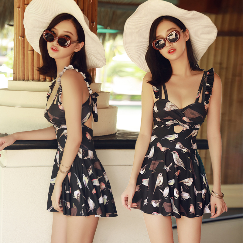NIUMO NEW one-piece swimsuit  woman Size of the chest Gather Siamese Skirt swimsuits Spa bathing suit Beach swim Swimwear niumo new one piece swimsuit woman printing floral retro siamese skirt type spa swimsuit large size swimwear swim