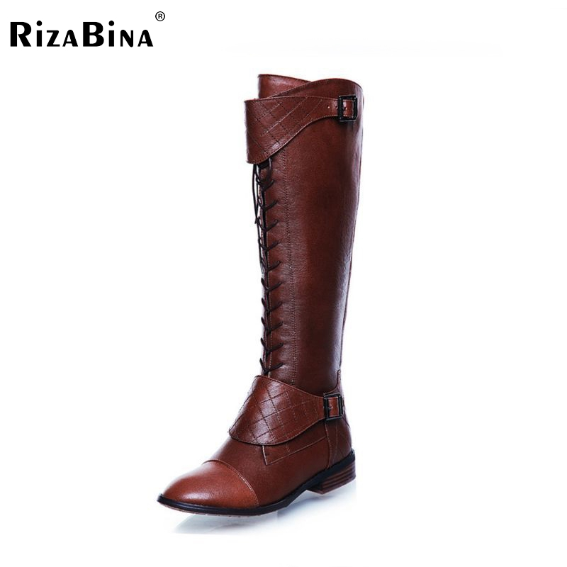 RizaBina women real genuine leather flat over knee boots long boot winter botas feminina brand footwear shoes R1468 size 34-40 la biosthetique seal conditioner