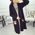 Donna Otoño Largo Cardigan de Punto Suéter de Las Mujeres de Un Solo Pecho Lindo Oso de Punto Bolsillo Flojo Caliente Larga Cardigans Knitwear M1132C