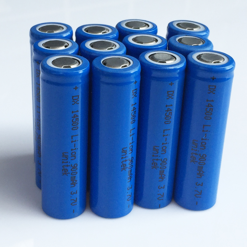 12-20pcs UNITEK 3.7V 14500 rechargeable battery 900mah 2A AA li-ion lithium ion cell baterias pilas for laser flashlight torch