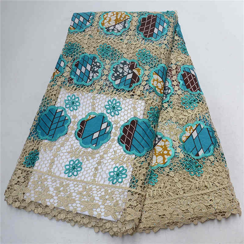 2019 High Quality Teal Green Ankara Wax Lace Fabric African Cord Lace Embroidery Dutch Wax With