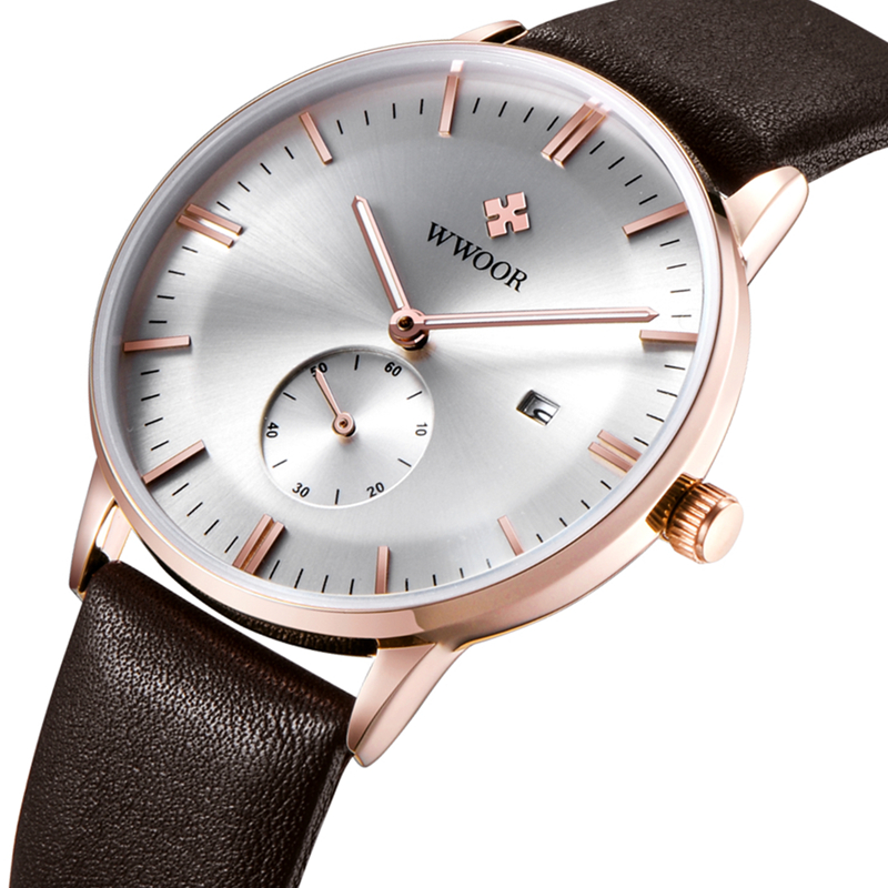Luxury Brand Ultra thin Date Genuine Leather Men s Quartz Watch Rose Gold Casual Sports Watches