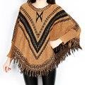 Free shipping New Fashion 2017 Autumn Winter Women Oversized Wool  stripe Pullovers Sweaters Bat Sleeve  shawl poncho