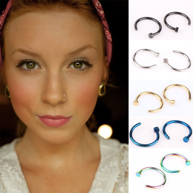 HTB1kriNKVXXXXcKXVXXq6xXFXXXO Unisex Body Piercing Jewelry 2-Pieces Stainless Steel Nose Hoop Rings - 5 Styles