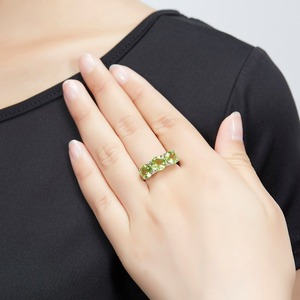 Image 2 - Hutang Wedding Womens Ring 4.2Ct Natural Peridot 925 Sterling Silver Rings Green Gemstone Fine Elegant Classic Jewelry for Gift