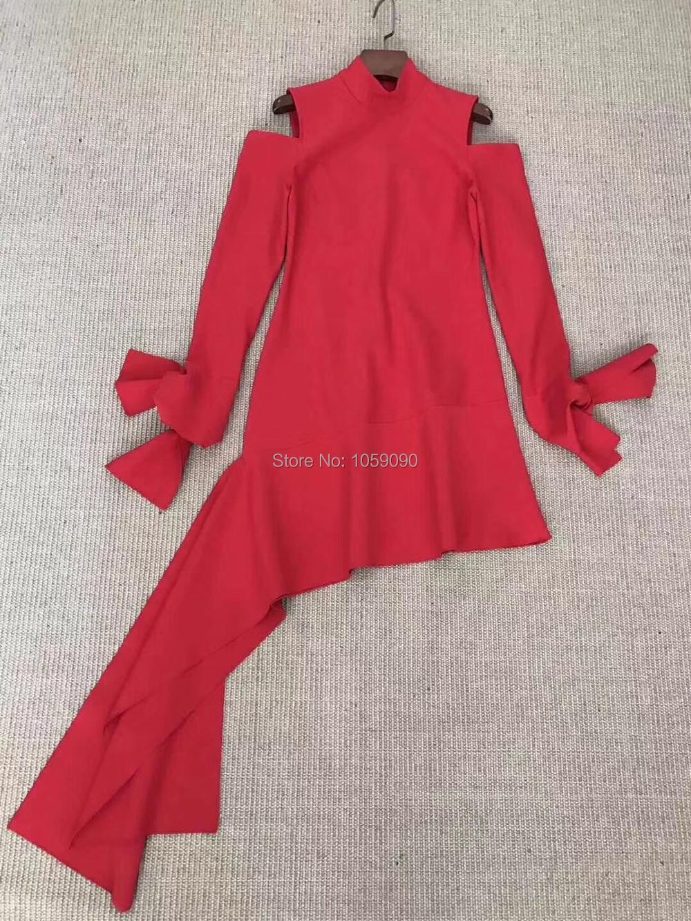 Wishbop Cut De Asymétrique Autres Black red Rouge Design Midi Mode 2018 Décolleté red Robe Noir Haut Nouveau Longues Mini Épaule Mini Out Mince Manches r7wqpr