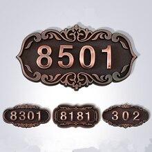 ABS европейский номер двери Стикеры античная медь значок номера дома 3 до 4 номера индивидуальные для отеля квартира вилла