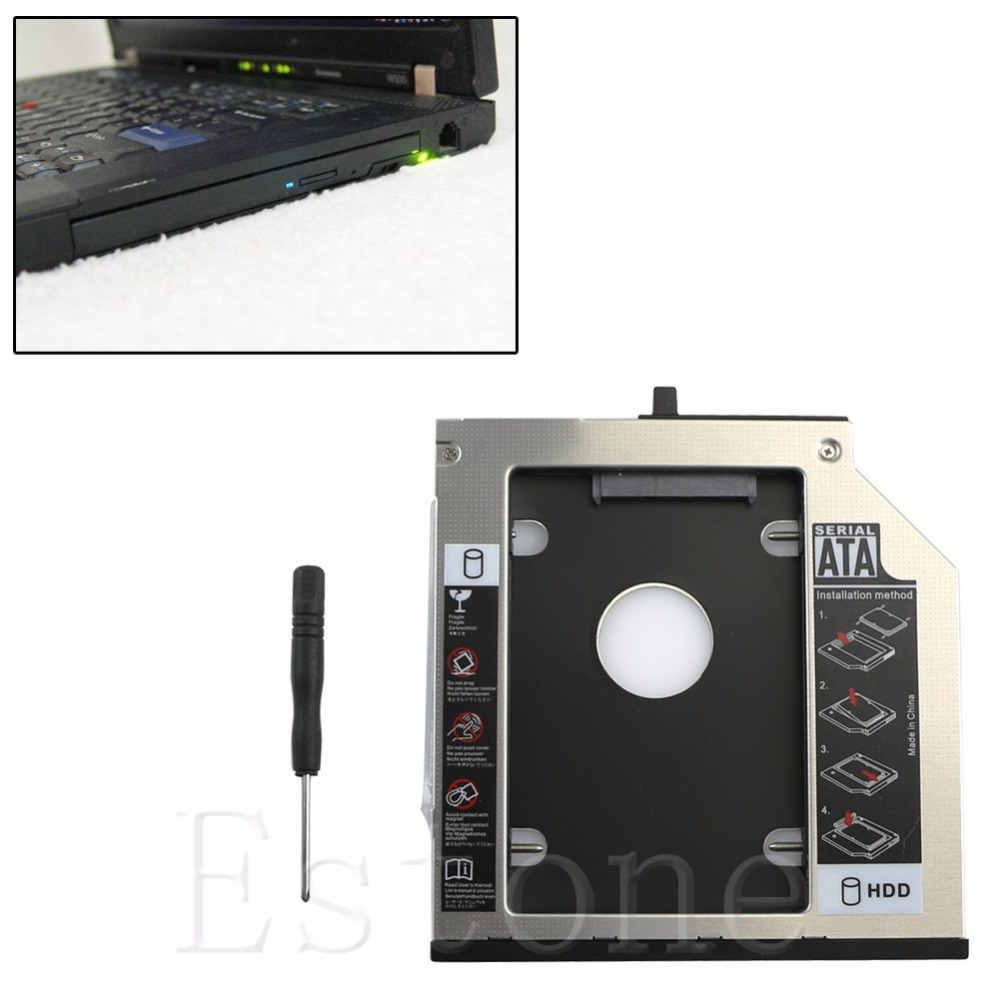 New 9.5mm SATA 2nd HDD Hard Drive Caddy for Lenovo Thinkpad T400 T410 T420s W500 9 5mm 2nd sata 2 5 hard disk drive hdd ssd enclosure caddy adapter for lenovo thinkpad l560 l570