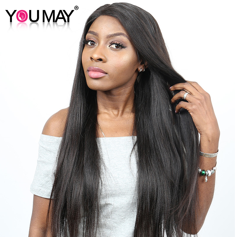 Yaki Straight Wig 130% Density Lace Front Human Hair Wigs For Women Pre Plucked and Bleacked Knots Brazilian Remy Hair You May