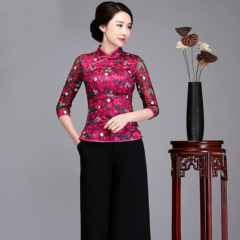 2018 nouvelles femmes mode chinois Mandarin col demi manches Blouses dentelle broder fleur chemises décontracté dames Blusas haut pour femme