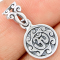 Guarantee Plain 925 Sterling Silver  OM Religious Pendant, 23 mm, 2 g,  SPJ2017