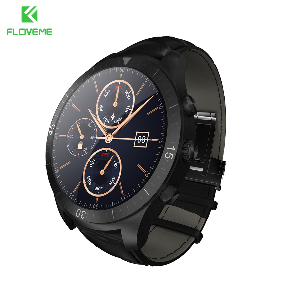FLOVEME Smart Watch Android iOS For Samsung Huawei LCD 400*400 Leather Strap Pedometer Bluetooth Heart Rate Monitor Smartwatch