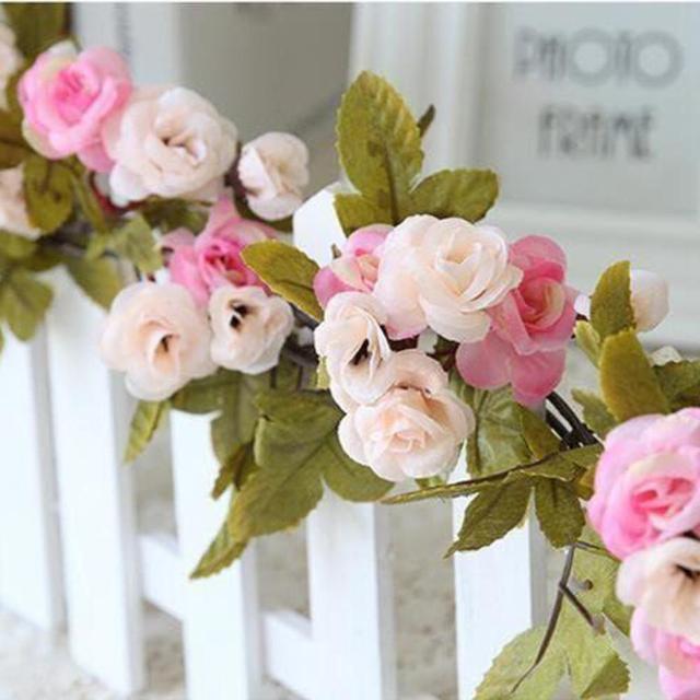 Shabby Chic Dark Rose Garland Flower Vintage Style Wedding String Bedroom Window Gardenia Rattan Party Home