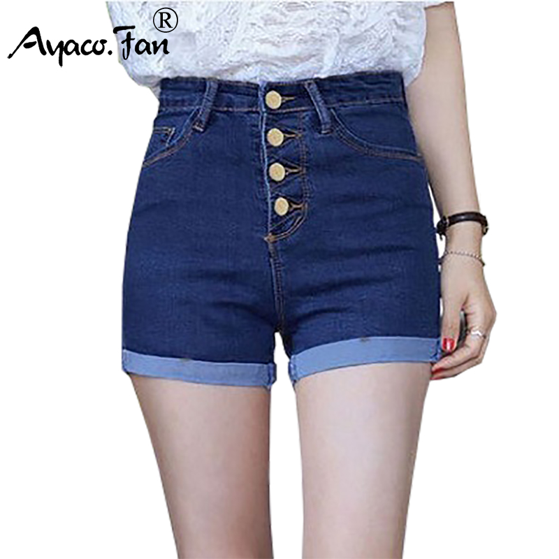 2019 Women 4 Buttons Elastic High Waist   Shorts   Fashion Feminino Denim   Shorts   for Women Loose Cuffs Straight Blue   Short   Jeans
