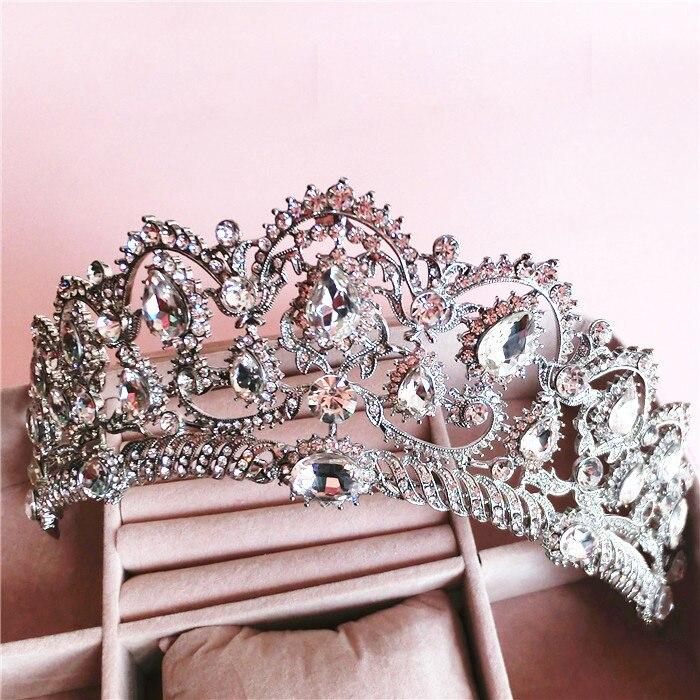 Prix pour Baroque Reine couronne strass ornements de cheveux de bijoux Européenne princesse mariée mariage coiffure bijoux de cheveux de mariage