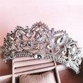 Barroco Reina corona rhinestone adornos para el cabello joyería Europea princesa boda de la novia tocado de la boda de la joyería