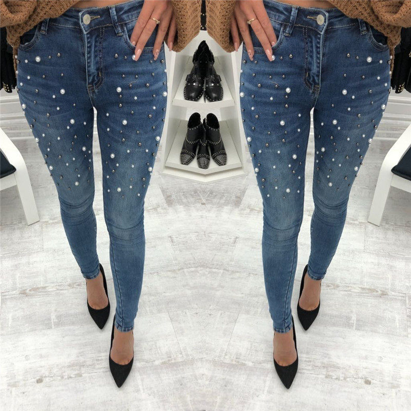Women Denim Skinny Beading Pants High Waist Stretch Long Pencil Pants Jeans Trousers Clothes Women