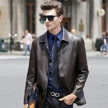 Plus Size Business Casual Men's Leather Jackets Turn-down Collar Spring Autumn Leather Jacket Men Chaqueta Cuero Hombre XXXL