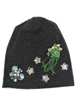 B179137 2018 New Spring Black Sweater Women Stone Star Beanie Sew Plant Applique By Hand Hats