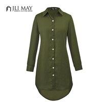 JLI MAY Ladies Chiffon Plus Size Blouses Loose Button Irregular Autumn Casual Black Long Sleeve Solid