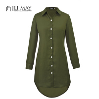 JLI MAY Ladies Chiffon Plus Size Blouses Loose Button Irregular Autumn Casual Black Long Sleeve Solid