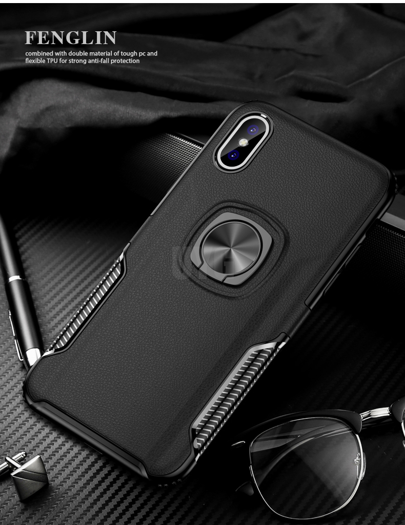 Luxury Leather texture Bracket case For iPhone x xs max xr Shockproof armor cover For iphone 6 6s 7 8 plus case with ring holder (5)