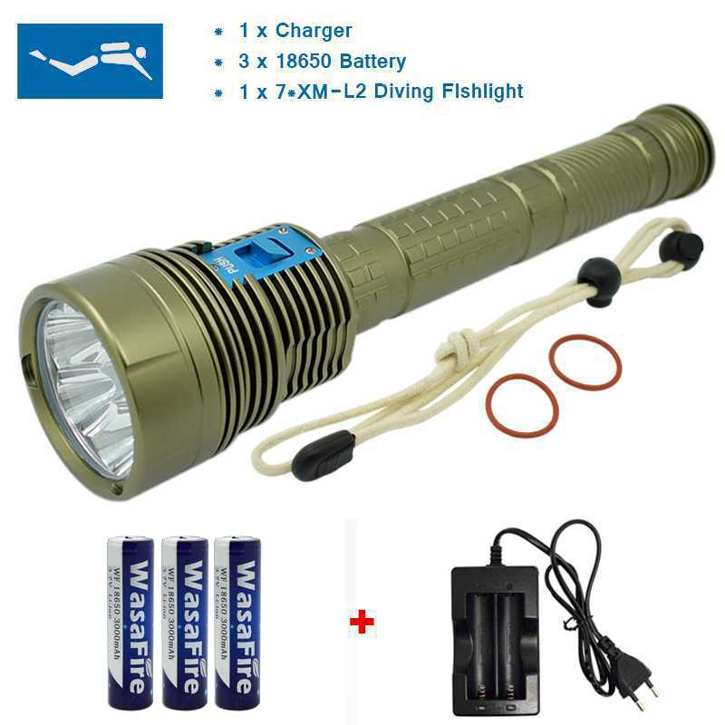 New Power 18000 Lumen Underwater Flashlight 7 x XM-L2 LED Scuba Diving Flashlight Diver Torch Light have 3x18650 and Charger