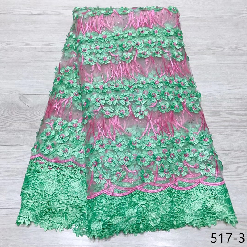 Nigerian Lace Fabric 2019 High Quality Lace Beaded Lace Fabric Wedding African Guipure With Beads Nigerian French Lace Fabric in Lace from Home Garden