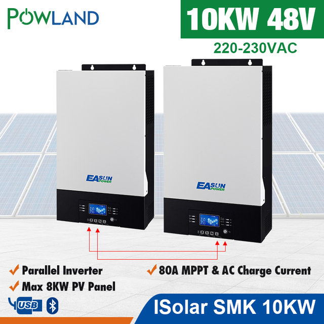 POWLAND Bluetooth 10Kw Parallel Inverter 220V 48v solar Inverter MPPT solar charger Off Grid Pure Sine Wave 80A Battery Charger