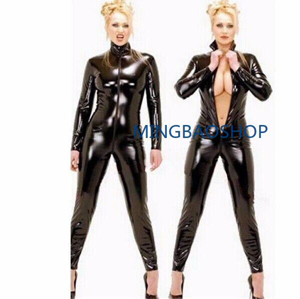 New Sexy Black Catwomen Jumpsuit PVC Spandex Latex Catsuit Costumes for Women Body Suits Fetish Leather Bodysuits Plus Size XXL in Zentai from Novelty Special Use