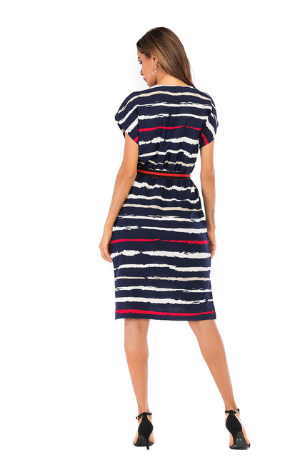 Summer Autumn Striped Dress Women Short Sleeve Sexy Casual Dress O-neck Stripe Women Pocket Elegant Dresses Plus Size 6