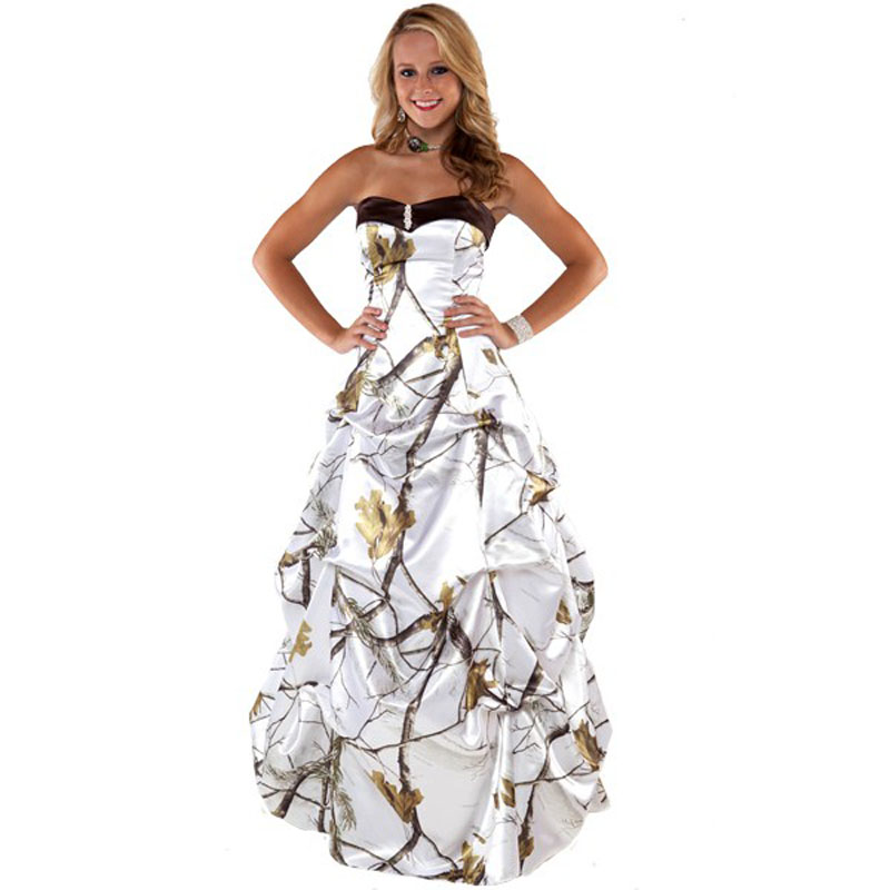 Realtree formal snow white camo prom dress 2017 long robe for Snow white camo wedding dress