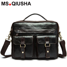 MS QIUSHA Genuine leather bag designer handbags high quality Cowhide tote briefcases famous brands men Crossbody