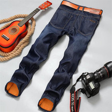 Brand New mens Fleece Lined jeans,Fashion Warm jeans Autumn Winter Men Jeans Pants Feet Slim Male pantalones vaqueros hombre недорго, оригинальная цена