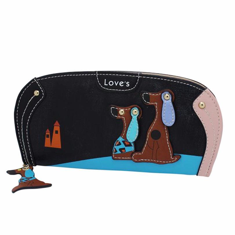 Hot Sale Women Fashion Long Purse Lady Puppy Dog Stitching Zipper Wallet Girls Womens Coin Purses Card Holders Handbag #Zer