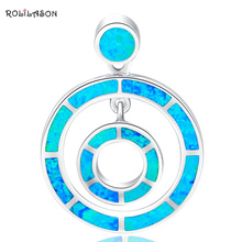 Круглый стиль дизайнеры высокое качество Новинка года Синий огненный опал Подвески серебро штампованные ювелирные изделия OP331