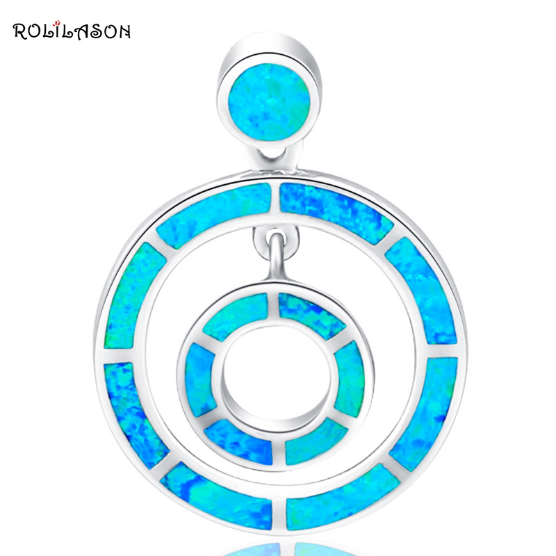Round style Designers High Quality 2014 New blue Fire Opal Pendants Silver Stamped Fashion jewelry OP331