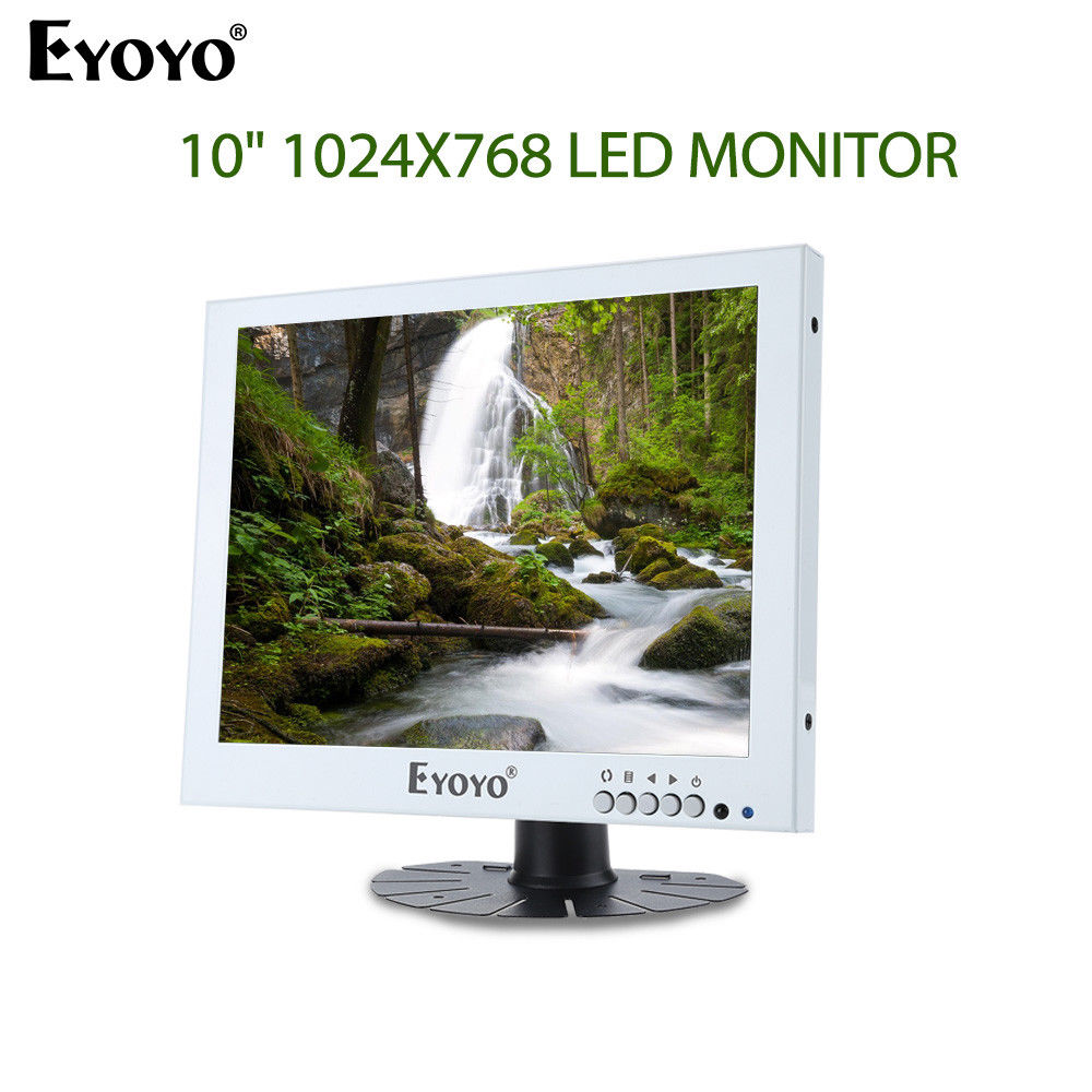 EYOYO 10 LED Monitor 1024X768 With BNC VGA AV Video Audio Input For CCTV DVD DVR PC Built-in Dual Loudspeakers 300cd/m2 White