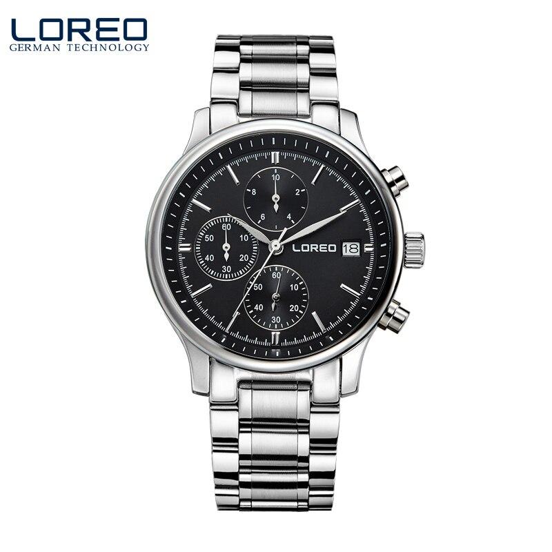 ФОТО LOREO quartz watch waterproof 50M Calendar Chronograph black stainless steel relogio masculino