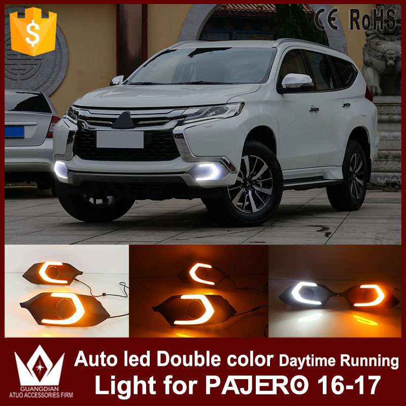 Tcart DRl daytime running light for Mitsubishi pajero sport 2015 2016 with yellow turn signal light led car day light