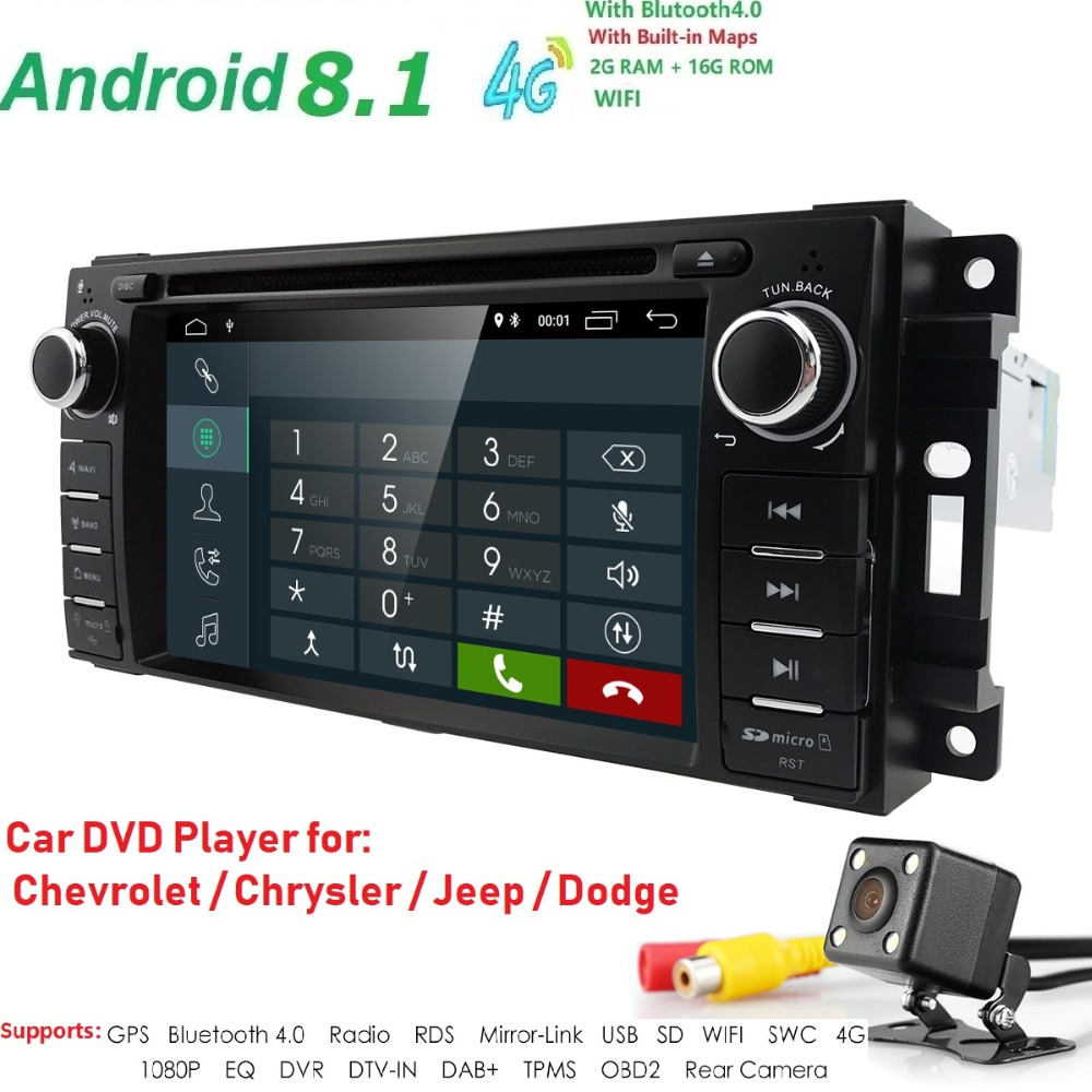 2Din Android 8.1 Car DVD Player AutoRadio For jeep compass Chrysler 300C/Dodge/Grand Cherokee Wrangler GPS Navi Audio Head Unit