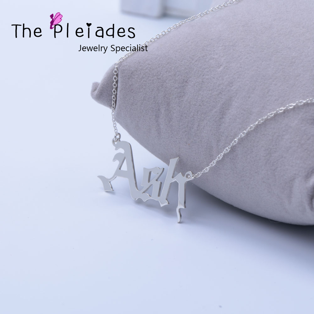 Old English Necklace 925 Solid Silver Jewelry Customized Name Necklace Special Gift For Women Best Friend