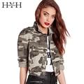 Hyh haoyihui camouflae impressão mulheres jaqueta turn-down collar único breasted bolso jaqueta outwear manga longa do punk do vintage