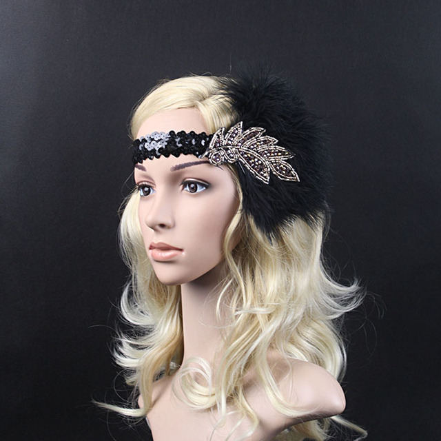 Sequin and Rhinestone 1920s Indian Style Women Retro Feather Plume Flapper  Leaf Shape Headband Headwear 2bd8b0c47d1