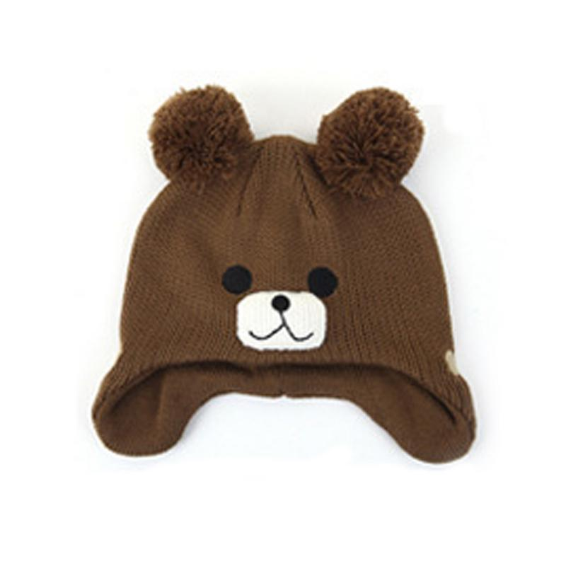 New Style Child Hat Cartoon Bear Knitted Hat Baby And Children's Warmth Small Bear Knitting Woolen Pullover Ear Cap