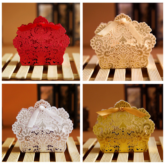 50pcl Wedding Decor Red And Champagne Color Lace Hollow Candy Box