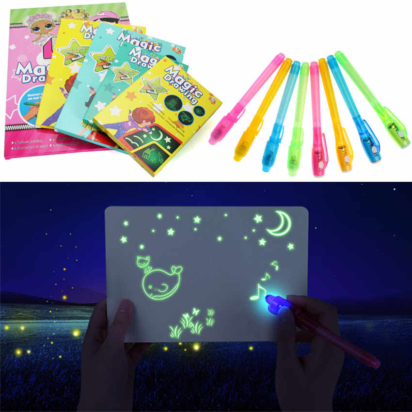 1PC A4 A5 LED tablero de dibujo luminoso Graffiti Doodle dibujo tableta dibujo mágico con bolígrafo fluorescente ligero-divertido juguete educativo
