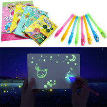1PC A4 A5 LED Lichtgevende Tekentafel Graffiti Doodle Tekening Tablet Magic Trekken Met Licht-Fun Fluorescerende Pen educatief Speelgoed(China)