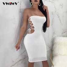 VWIWV 2018 NEW ARRIVAL Summer Off Shoulder  Solid Sexy Club Dress Hollow out Sleeveless Slim Bandage Decorate Strapless Dress